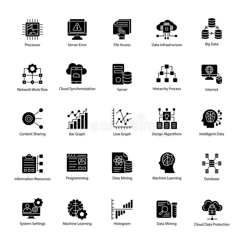 Vetores do glyph da ciência dos dados ajustados ilustração royalty free