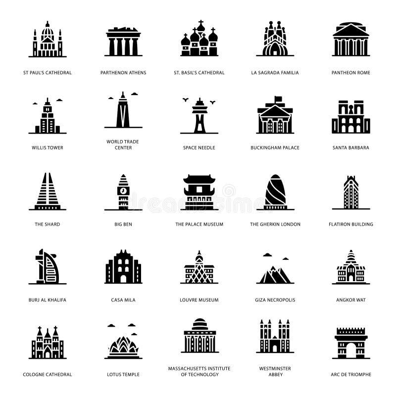 Vetores do Glyph dos marcos históricos ilustração do vetor