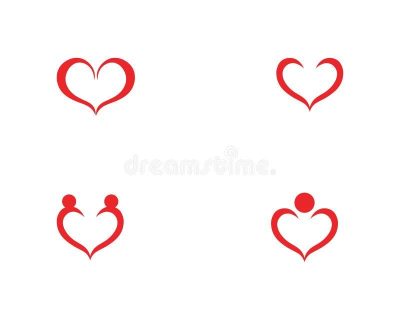 Vetores do logotipo do coração do amor ilustração stock