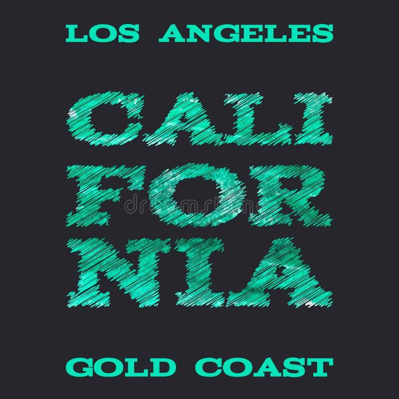 Vetores dos gráficos do t-shirt da tipografia da ressaca de Califórnia ilustração stock