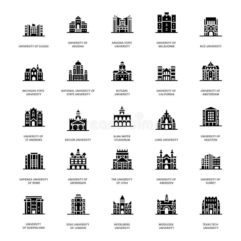 Vetores históricos do Glyph das universidades ilustração stock