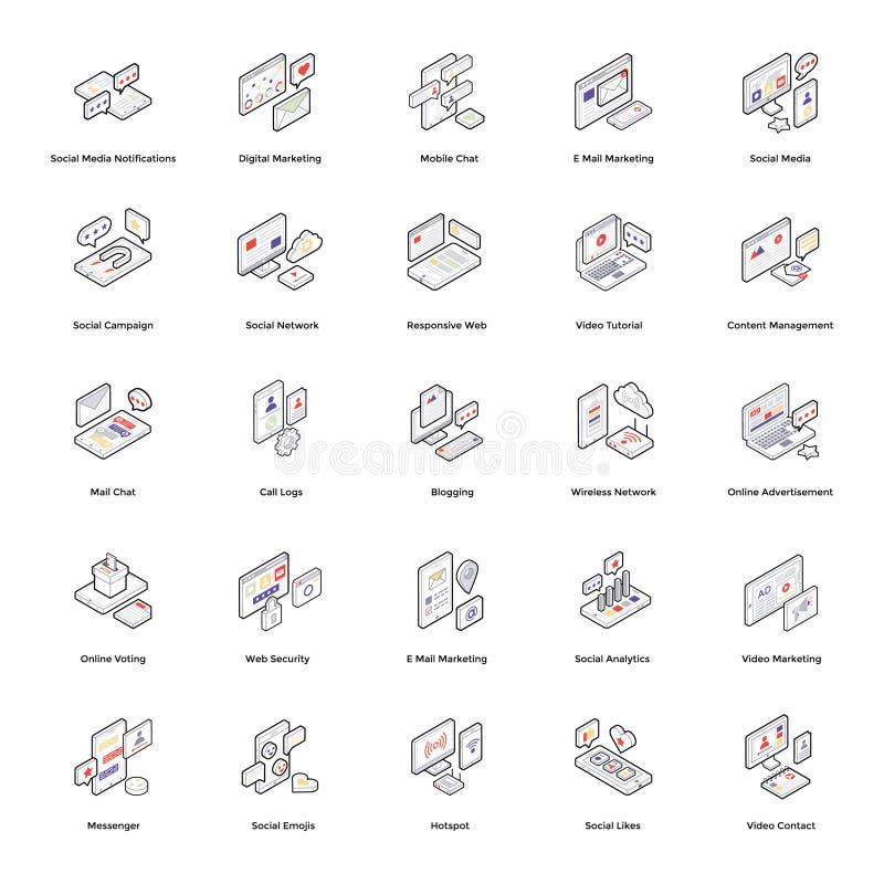 Vetores isométricos de meios sociais ilustração stock