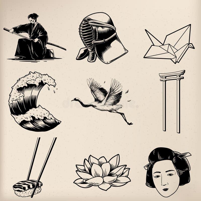 Vetores japoneses do estilo da tradição isolados ilustração stock