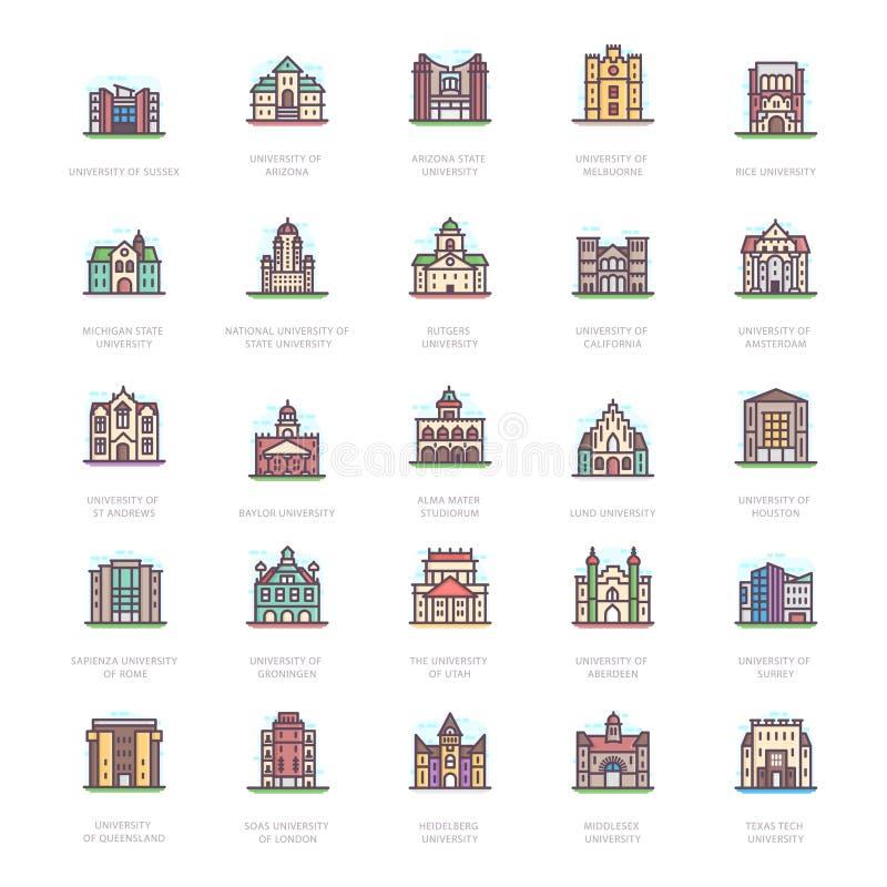 Vetores lisos das universidades históricas ilustração stock