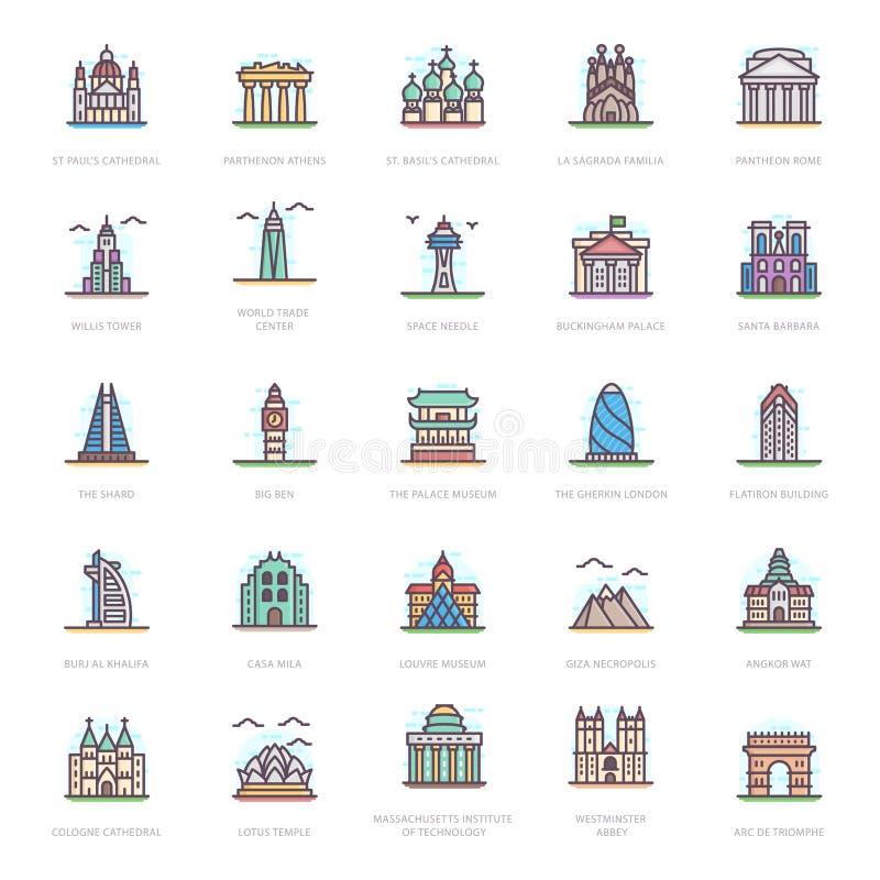 Vetores lisos dos marcos históricos ilustração royalty free