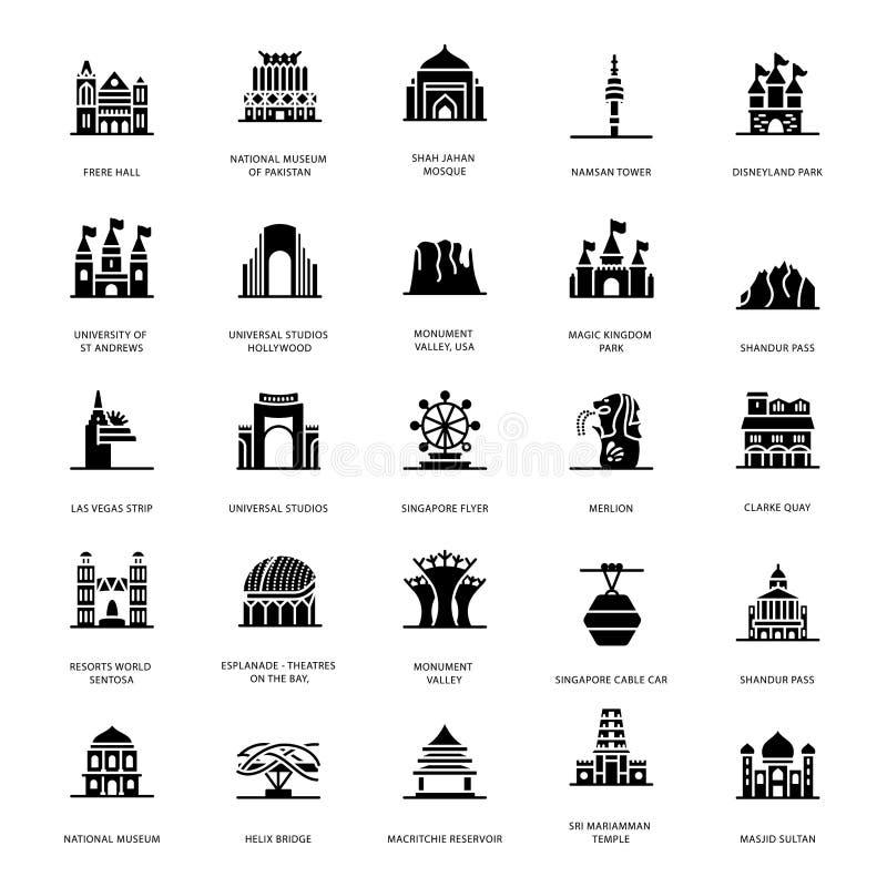 Vetores memoráveis do Glyph dos marcos ilustração royalty free