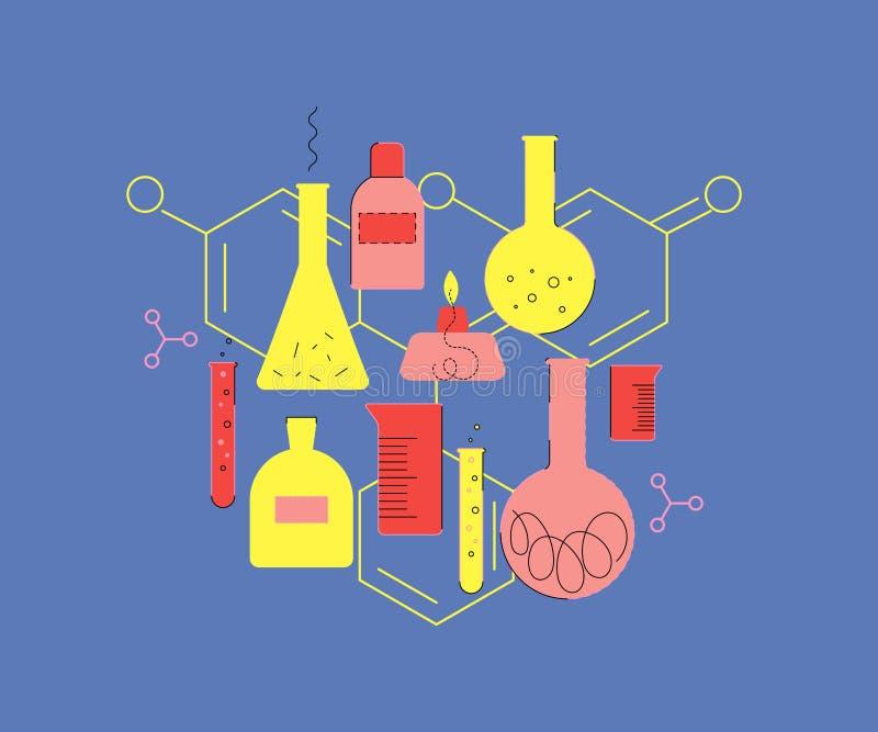 Vetreria per laboratorio Insieme di cristalleria chimica Formula chimica illustrazione di stock