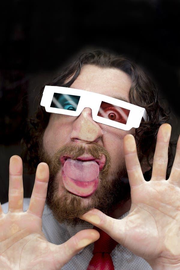 Vetri barbuti dell'uomo 3D fotografie stock libere da diritti