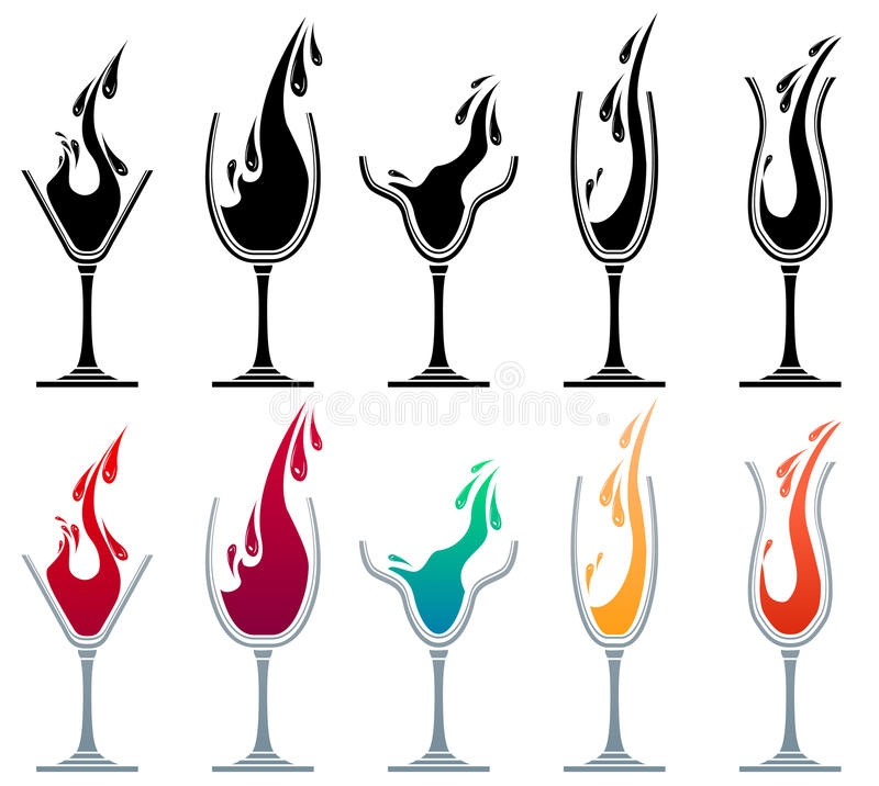 Vetri con differenti bevande illustrazione di stock