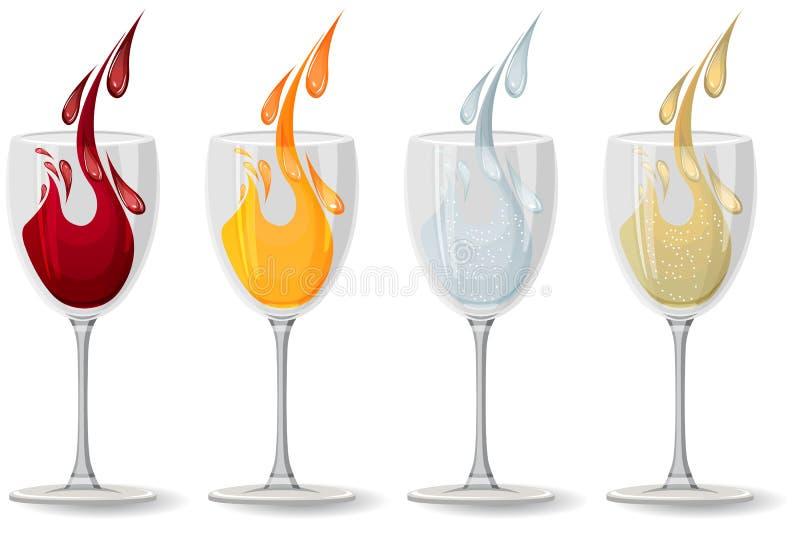 Vetri con differenti bevande su bianco royalty illustrazione gratis