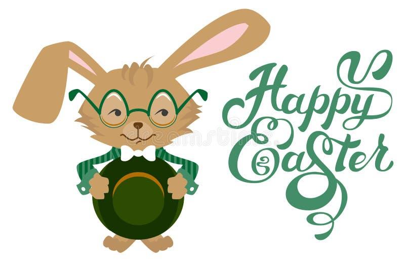 Vetri d'uso del coniglietto di pasqua Iscrizione felice del testo di Pasqua Testo di saluto dell'iscrizione di calligrafia illustrazione vettoriale