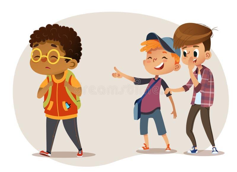 Vetri d'uso del ragazzo afroamericano triste che passano attraverso la scuola Ragazzi di scuola che ridono e che indicano al raga illustrazione di stock
