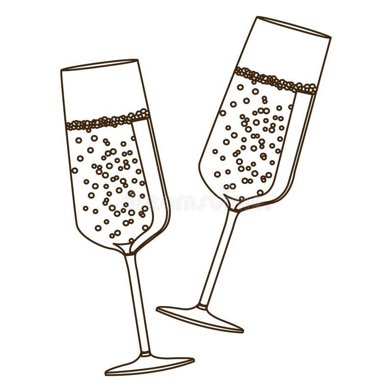vetri del champagne del pane tostato delle coppie della siluetta di schizzo illustrazione vettoriale