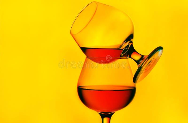 Vetri del cognac fotografia stock libera da diritti