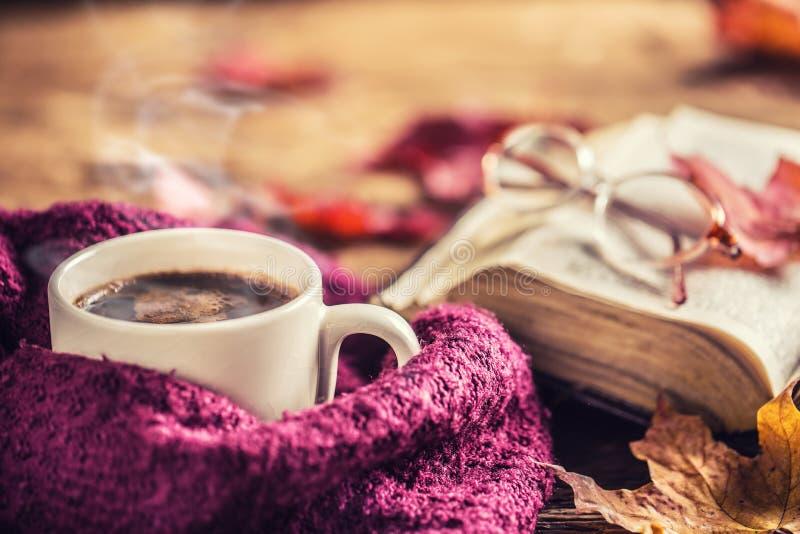 Vetri del vecchio libro della tazza di caffè e foglie di autunno immagine stock