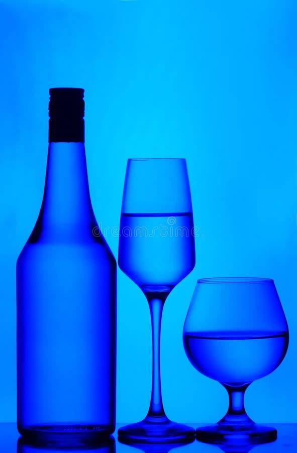 Vetri della bottiglia, del vino e del cognac immagini stock libere da diritti