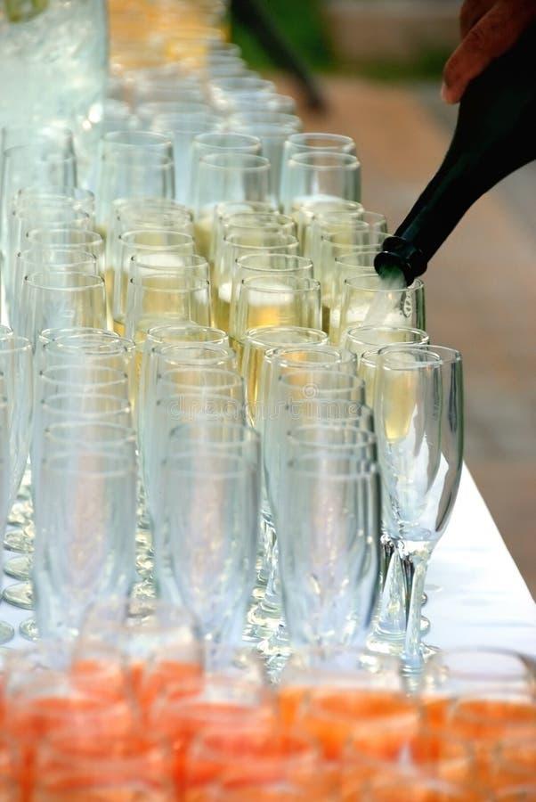 Vetri di Banqet Champagne immagine stock