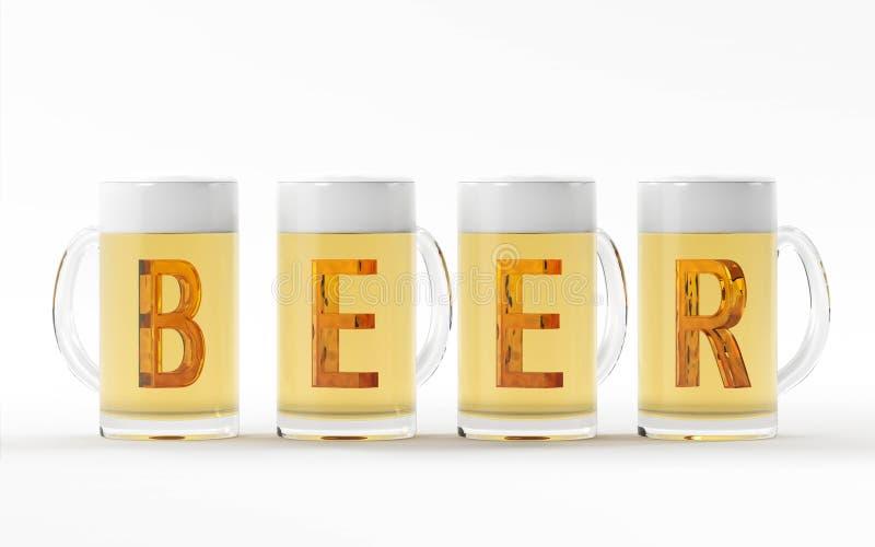 Vetri di birra con la rappresentazione di cristallo ambrata della fonte 3D immagini stock libere da diritti
