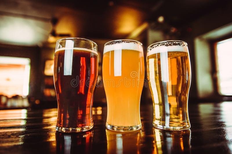 Vetri di birra leggera e scura su un fondo del pub fotografia stock libera da diritti