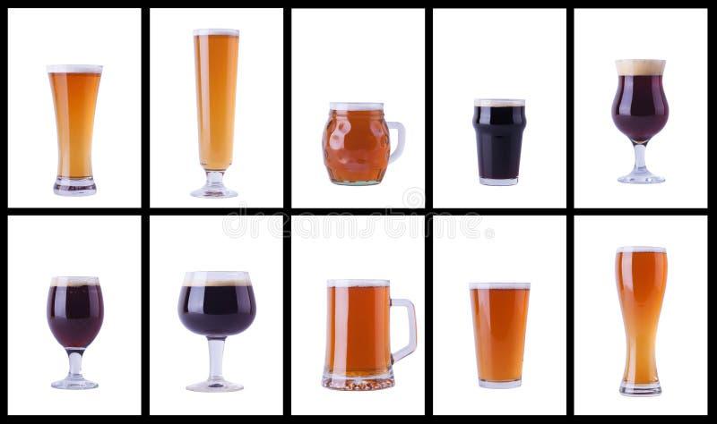 Vetri di birra su bianco fotografie stock