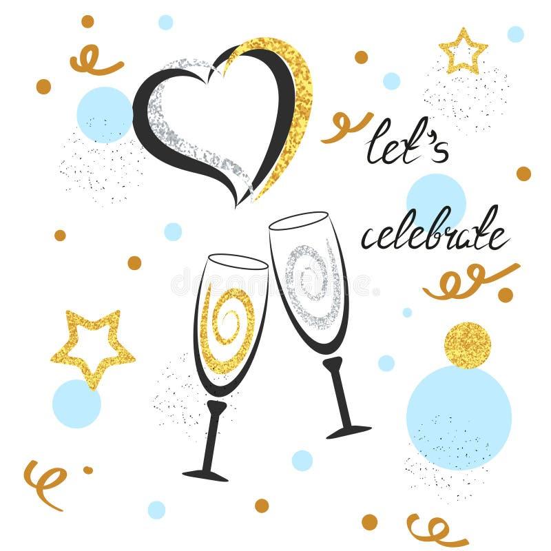 Vetri di Champagne con i cuori, le stelle ed i punti scintillanti Fondo di celebrazione illustrazione vettoriale