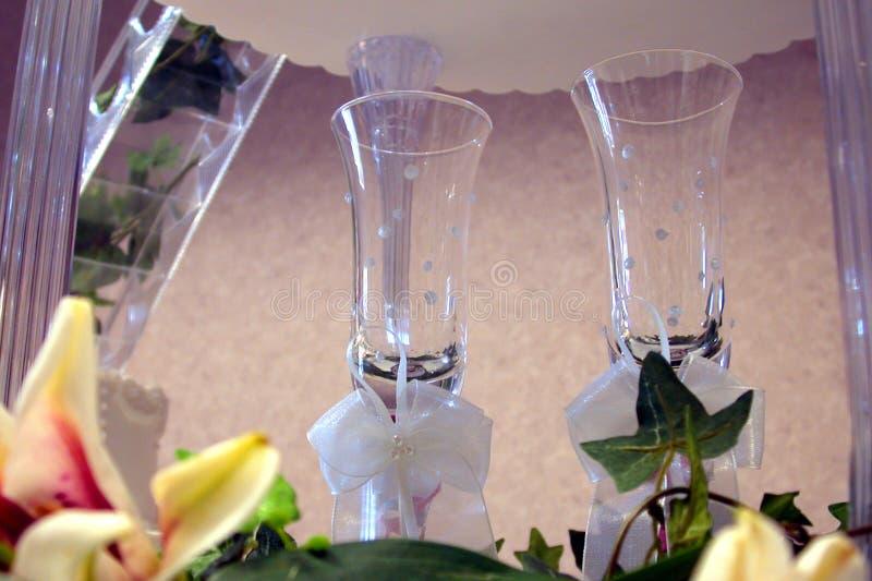 Vetri di Champagne di cerimonia nuziale fotografie stock libere da diritti