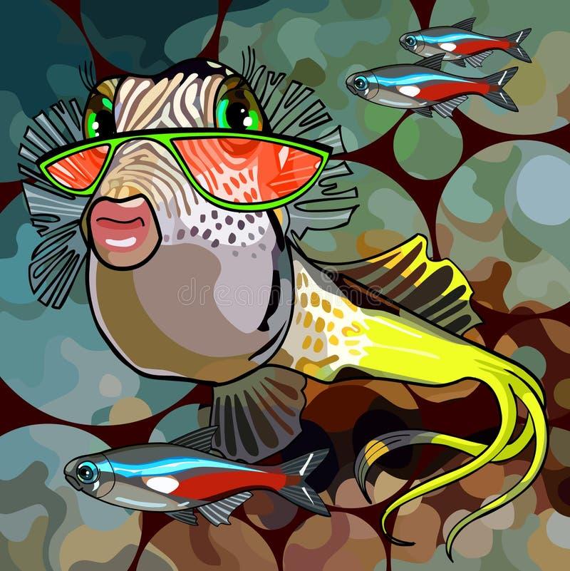 Vetri di fascino del pesce del fumetto illustrazione di stock