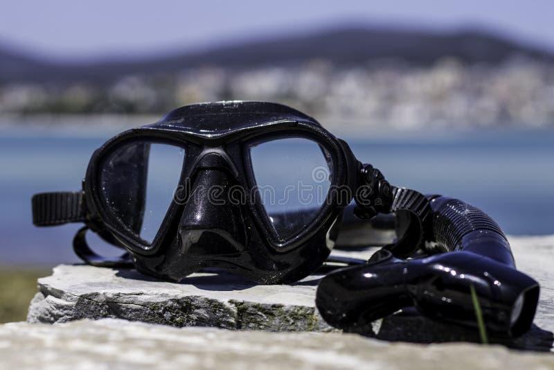 Vetri di immersione subacquea e uno snorkle fotografie stock