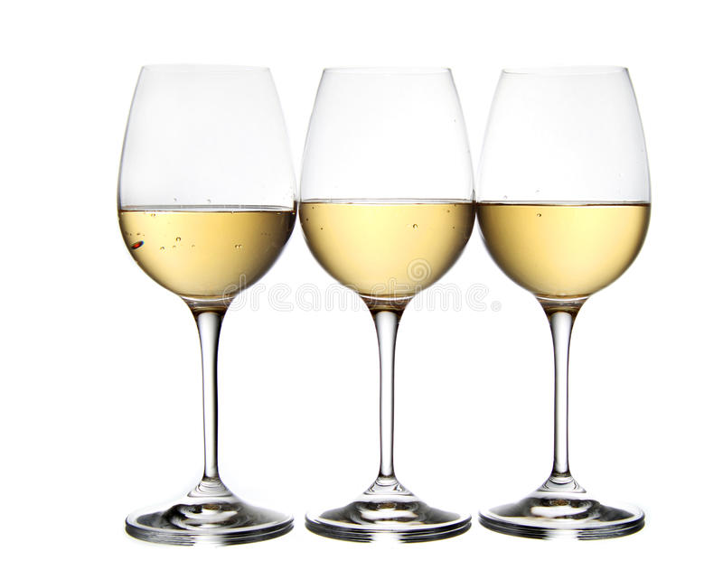Vetri di vino bianco fotografia stock libera da diritti