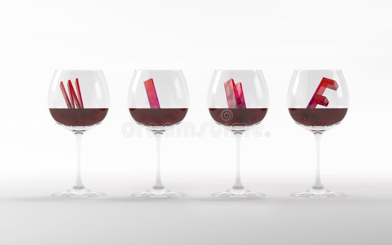 Vetri di vino con la rappresentazione di cristallo della fonte 3D immagine stock
