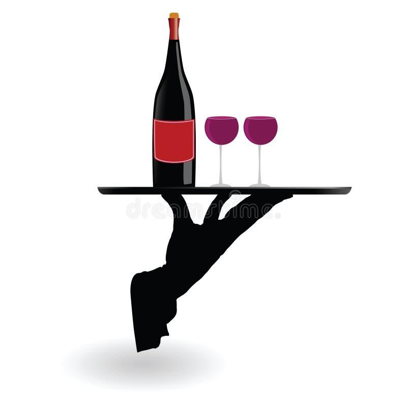 Vetri di vino di trasporto del cameriere sul vassoio royalty illustrazione gratis