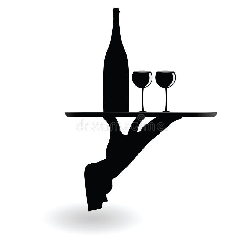 Vetri di vino di trasporto del cameriere sulla siluetta del nero del vassoio illustrazione di stock