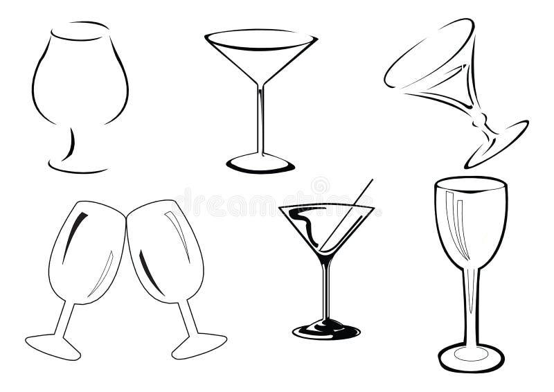 Vetri di vino di vettore illustrazione di stock
