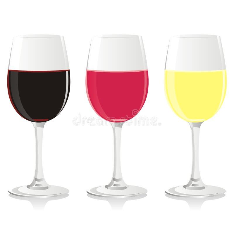 Vetri di vino isolati illustrazione di stock