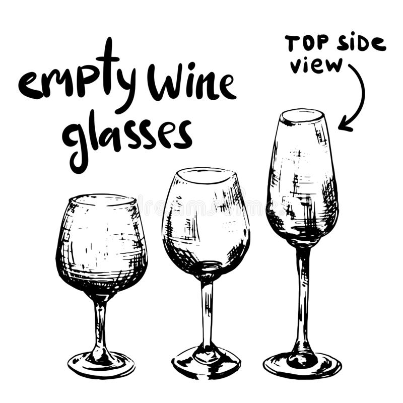 Vetri di vino vuoti differenti fotografia stock