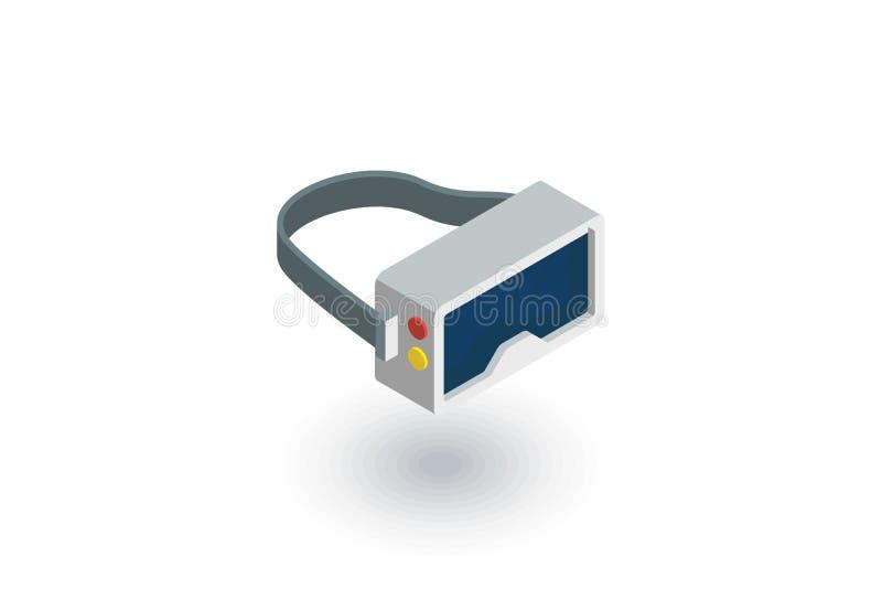 Vetri di VR, occhiali di protezione, icona piana isometrica di realtà virtuale 360 vettore 3d illustrazione di stock