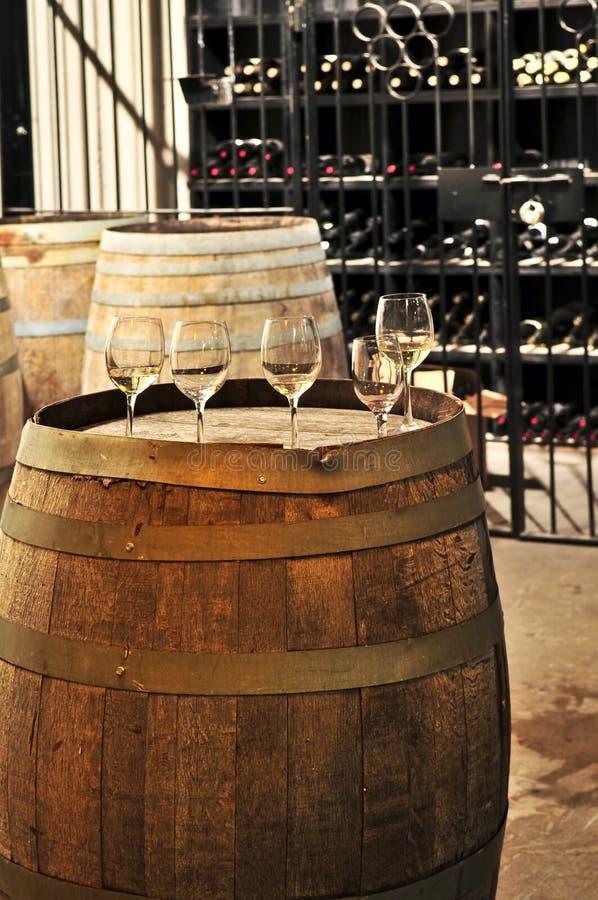 Vetri e barilotti di vino fotografia stock libera da diritti