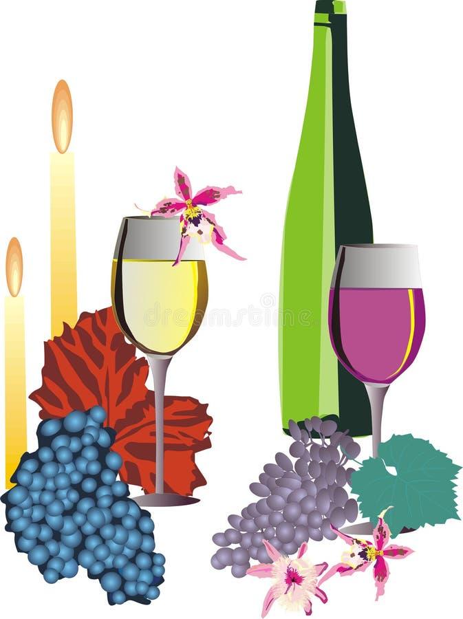 Vetri e bottiglia di vino royalty illustrazione gratis