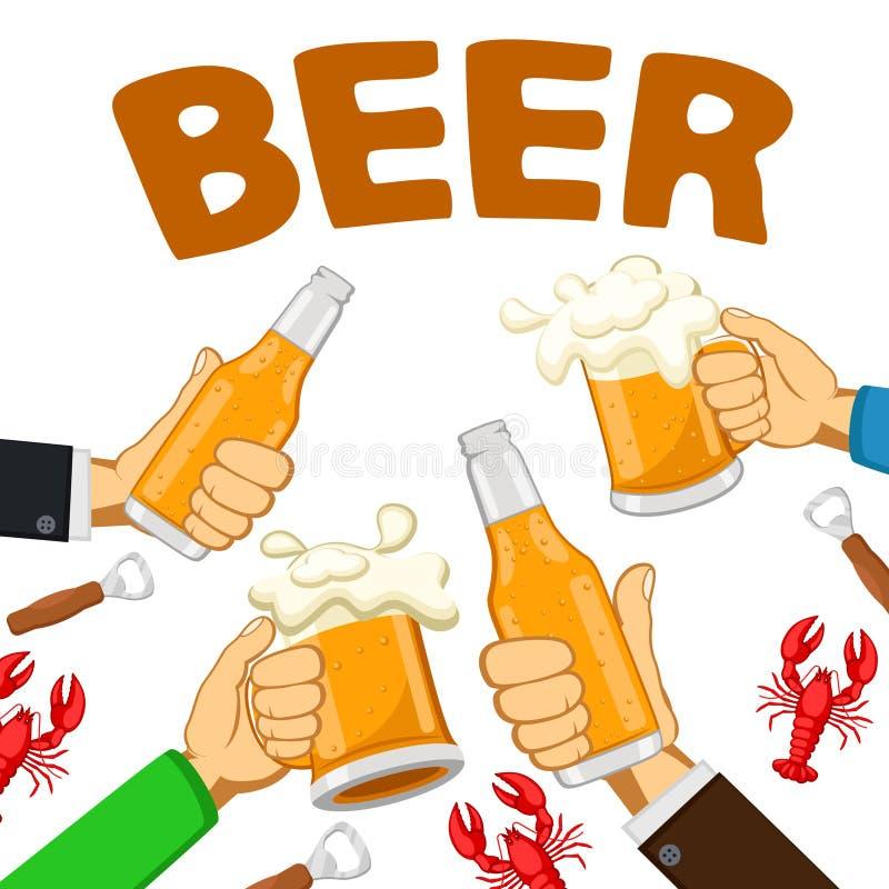 Vetri e bottiglie di birra nelle mani della gente con le aragoste rosse, pane tostato su un bianco illustrazione vettoriale
