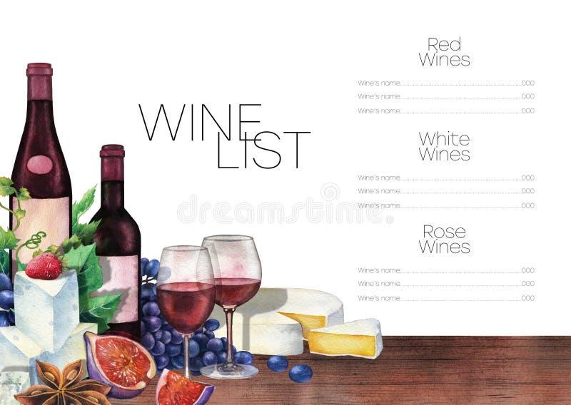 Vetri e bottiglie di vino dell'acquerello decorati con alimento delizioso illustrazione di stock