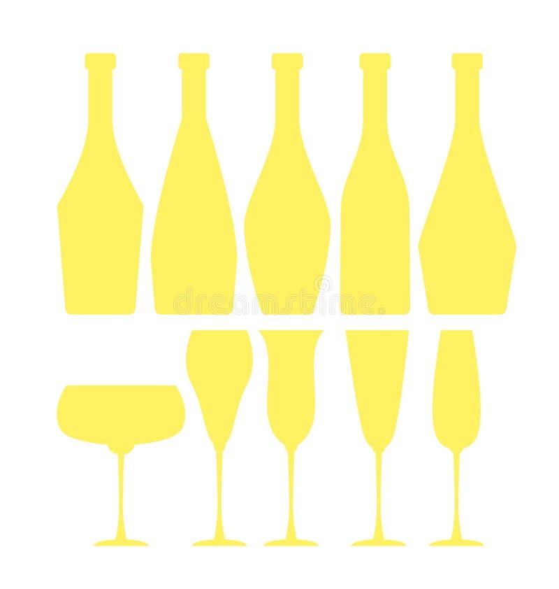 vetri e bottiglie di vino spumante assortiti illustrazione vettoriale