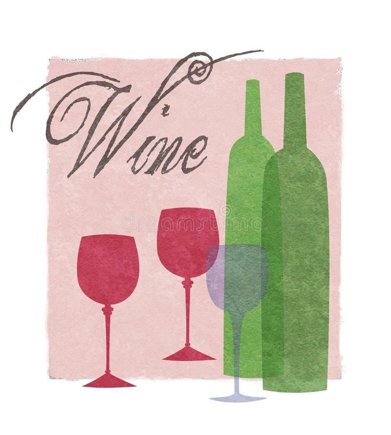 Vetri e bottiglie di vino stilizzati grafici royalty illustrazione gratis