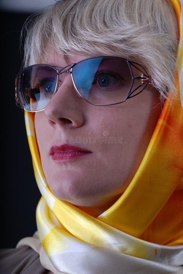 Vetri e fazzoletto da collo da portare della donna immagine stock