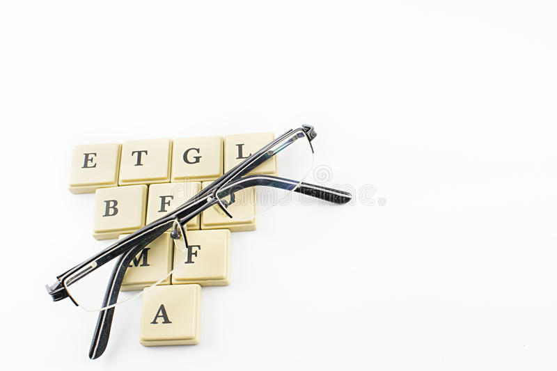 Vetri e lettere fotografia stock libera da diritti