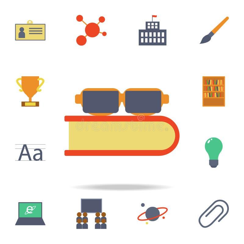 vetri ed icona colorata libro Insieme dettagliato delle icone colorate di istruzione Progettazione grafica premio Una delle icone illustrazione di stock