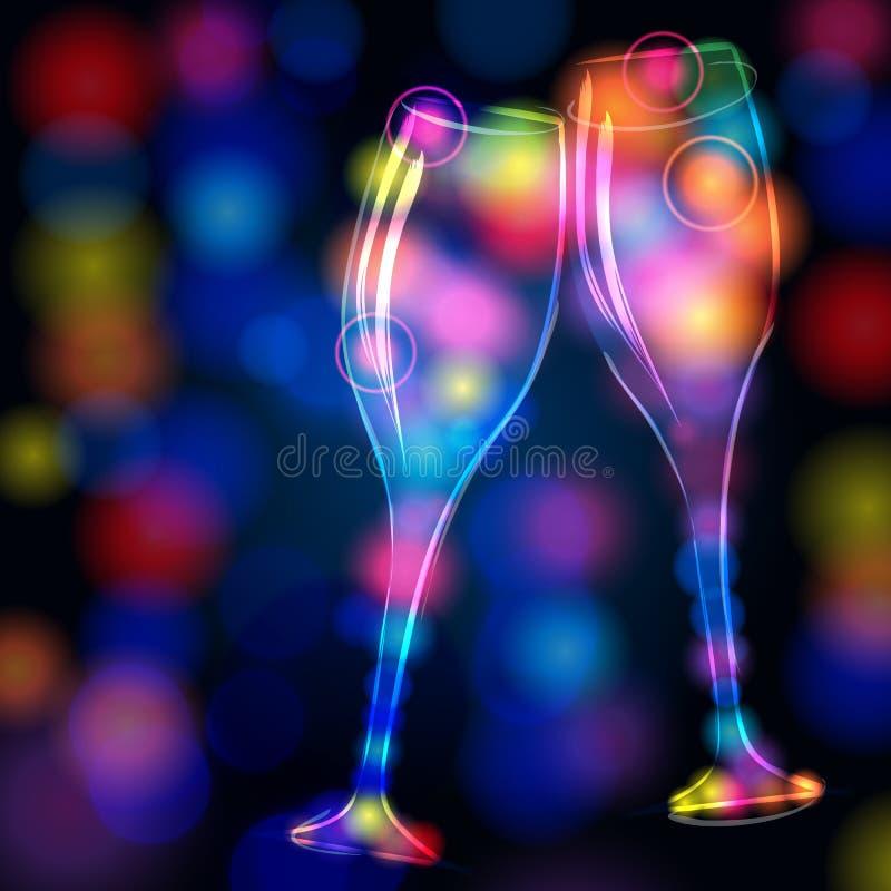 Vetri eleganti e brillanti del champagne royalty illustrazione gratis