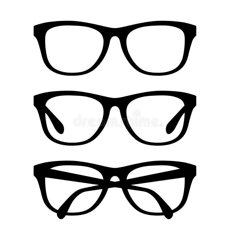Vetri neri messi Retro strutture degli occhiali di vettore messe illustrazione di stock