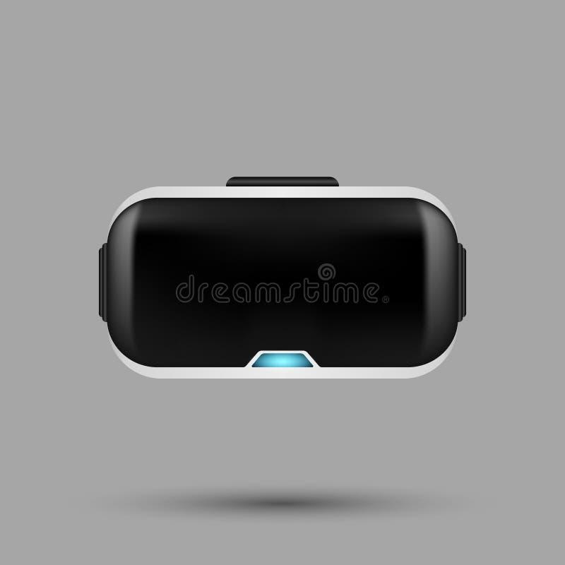Vetri realistici bianchi di realtà virtuale di VR con il potere blu i fotografia stock