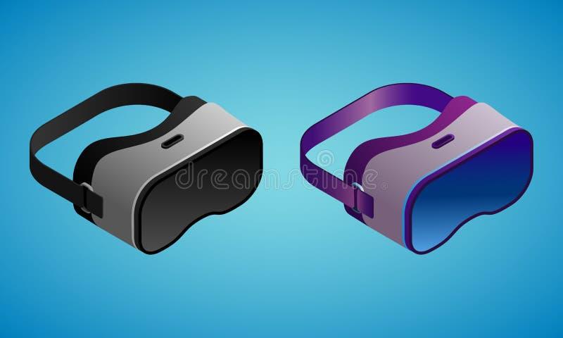 Vetri realistici di realtà virtuale nell'illustrazione isometry di vettore illustrazione vettoriale