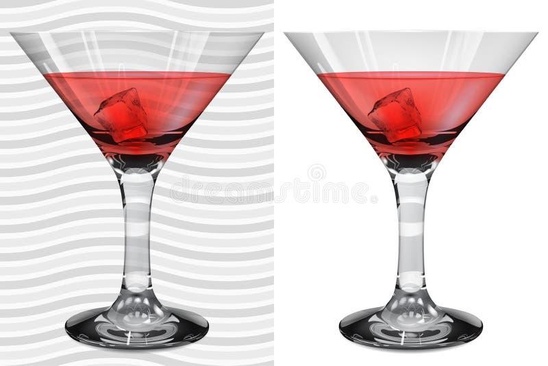 Vetri realistici trasparenti ed opachi di martini con martini illustrazione di stock